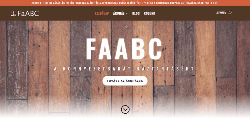 A faabc.hu webáruház nyitóképe.