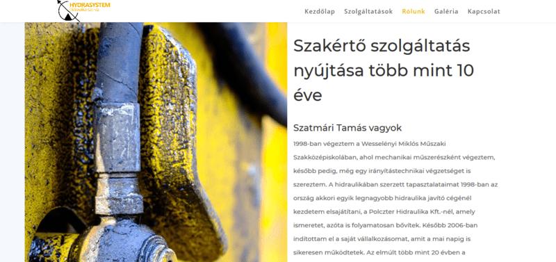 A hydrasystem.hu honlap nyitóképe.