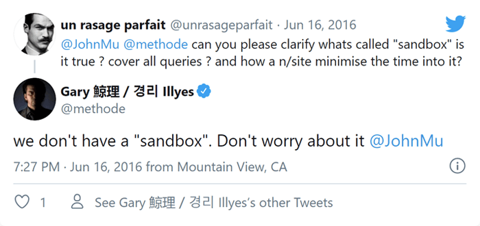 A Google állásfoglalása a sandbox effektusról