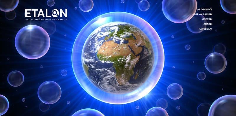 Földgömb légbuborékban, sok kis buborékkal körülvéve